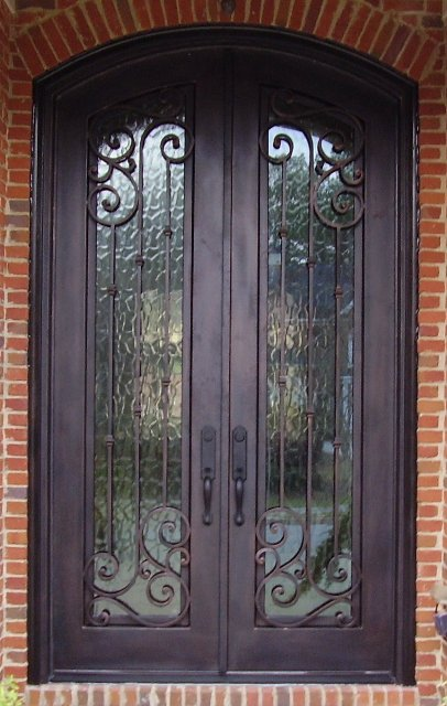 Iron double doors wrought iron doors custom iron doors for Door design of iron